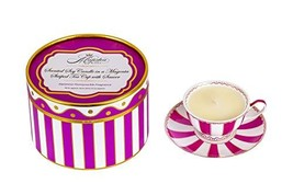 Scented Soy Candle in a Magenta Striped Tea Cup with Saucer, Tea Cup, Ca... - $29.41