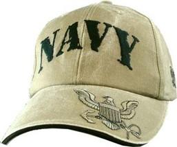 U.S. Navy with Navy Insignia Khaki Officially License Military Hat Baseball Cap - $31.99