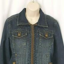 CAbi Womens Denim Jean Jacket Blazer M Fringed Hem Cuffs Fabric Accent S... - $39.60