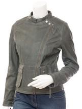 QASTAN Women's New Style Slim Fit Grey Croc Biker Sheep Leather Jacket Q... - $149.00+