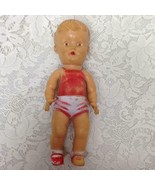 Vintage, 1950s  Sun Rubber Doll in Red and White Playsuit - $14.20