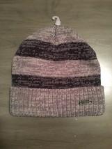 NWT Levi's Heather Gray & Black Striped Marled Cuffed Men's Beanie Hat Acrylic - $15.99