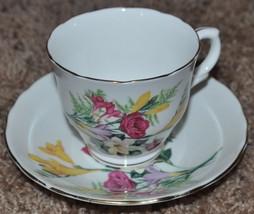 Vintage Crown Staffordshire Fine Bone China Tea Cup and Saucer, Roses an... - $23.36