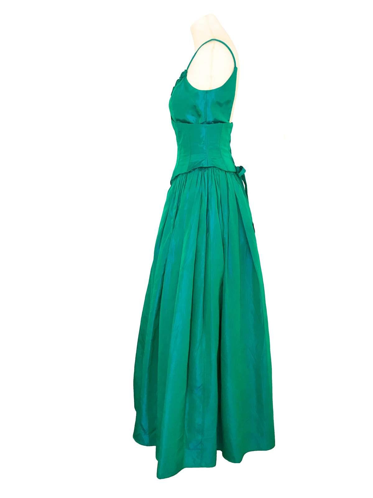 80s Jessica McClintock Gunne Sax Blue Green Iridescent Taffeta Lace Up Back Gown