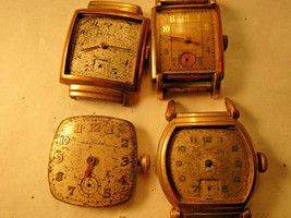 LOT OF 4 SQUARE WATCHES FOR REPAIR OR PARTS BENRUS WALTHAM BULOVA HELBROS - $87.32