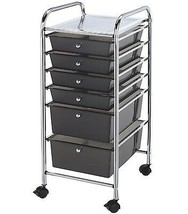 Home Office 6 Smoked Colored Drawers Storage Swivel Caster Cart Organize... - $94.66