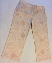NEW ANN TAYLOR Tan White Paisley Cotton Spandex Cropped Capris Pants Size 0 - $29.99