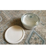 1980s Corning Ware French White 1.5 Qt Round Casserole, Glass Lid, Plast... - $15.00