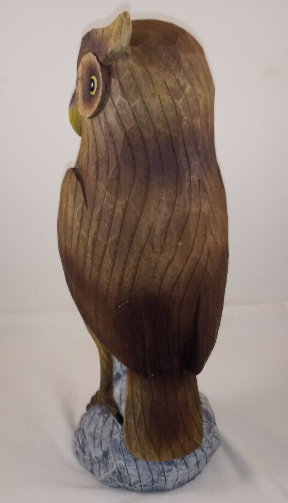 "Large HOOT OWL Sitting on a Tree Stump 12"" Resin Figurine"