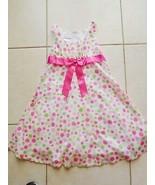 DRESS Girls BONNIE JEAN White Pink Lime Green Polka Dot Eyelet Sz 8 EUC (T) - $16.99