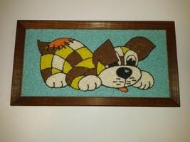 Vintage Mid-Century dog puppy gravel pebble  Art Wall Hanging 13x7 50's ... - $43.01