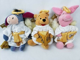 "Disney Store Pooh Piglet Eeyore 8"" Plush Angels Choir Halo Wings Robes L... - $32.65"