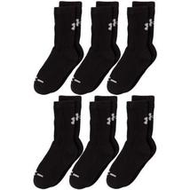 Under Armour Crew Socks (6-Pair), Solid Black, Youth Large New - $25.99