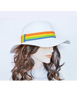 New AUGUST Toyo Straw Stylish Floppy Sun Hat White With Colorful Band Wo... - $7.79