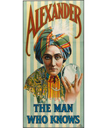 "1915 Alexander The Man Who Knows Magician Magic Show 8""x16"" Poster Adver... - $12.38"