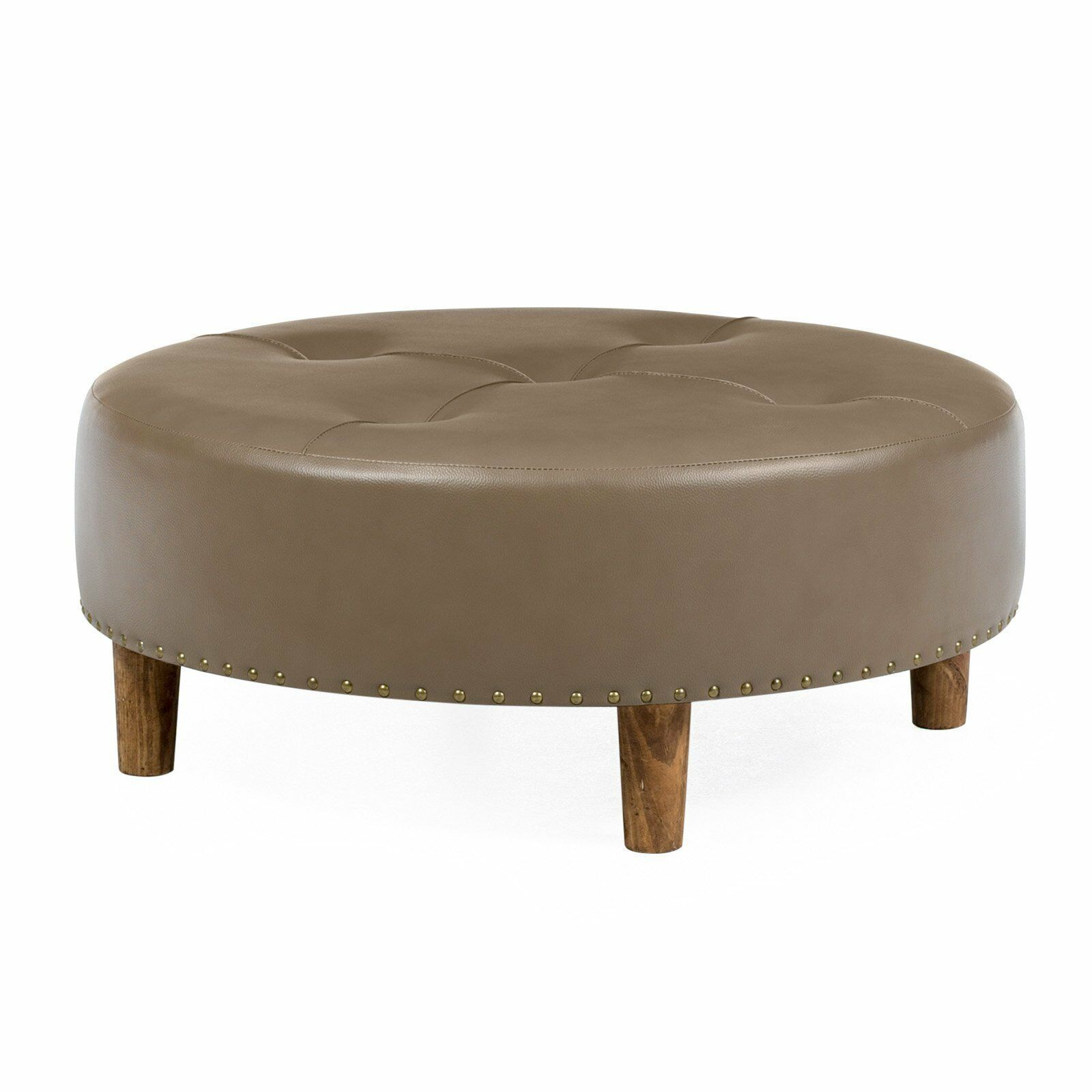 Brown Faux Leather Tufted 31 Quot Round Cocktail Ottoman Foot