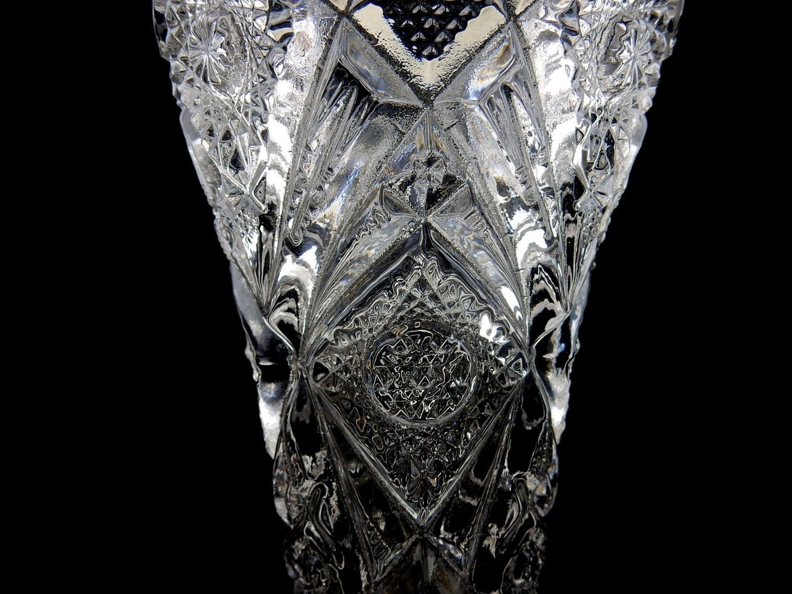"Imperial Glass, 10"" Vase, Heavy Decorated Glass Vase, Saw Tooth Top Flower Vase"