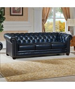 92''L Restoration Style Chesterfield Industrial Genuine Dark Blue Leathe... - $2,965.05