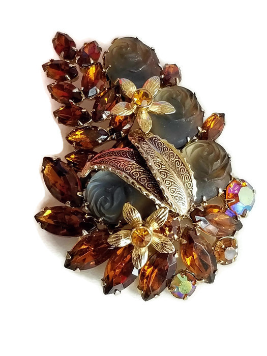 Vintage Molded Glass Rose and Topaz Rhinestone Brooch, Vintage Floral Pin