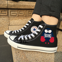 Cartoon Boxing Monsters Design Sneakers Black High Top Canvas Shoes Converse  - $119.00