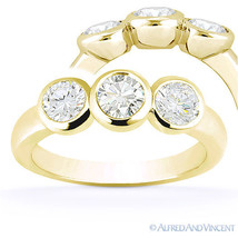 Round Cut Forever Brilliant Moissanite 14k Yellow Gold 3-Stone Engagemen... - £525.08 GBP+
