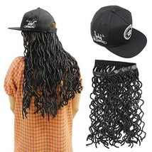 Faux Locs Hair Baseball Cap with Curly Wavy Wig Synthetic Crochet Braid Hair Ext