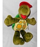 Ganz Suzy's Zoo Corky Turtle Plush Stuffed Animal Green Red Hat Vintage ... - $24.72