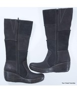 b.o.c Nix Patchwork Suede Leather Boots size 6.5 Black Mid Calf Wedge - $59.95