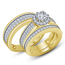 Womens Engagement Diamond Ring And His Her Band Trio Ring Set 925 Solid ... - $134.15