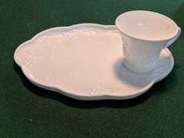 Six vintage milk glass harvest colony snack sets - $34.65