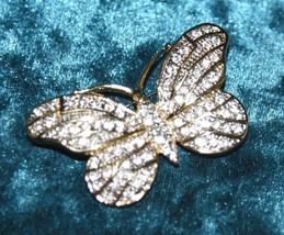VINTAGE CLEAR RHINESTONE GOLD TONE PIN BROOCH FIGURAL BUTTERFLY METAL 2.... - $24.99