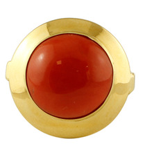 18K Yellow Gold and Rubrum Coral Vintage Ring - $1,183.00