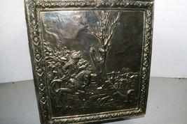 "Vintage Wood Metal Brass Tone Wheel Rolling Storage Chest 18.5""x14""x12.5"" Box image 6"