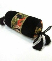 Waverly Harbor Square Floral Velvet Black Tasseled Neck-Roll/Bolster Pillow - $38.00