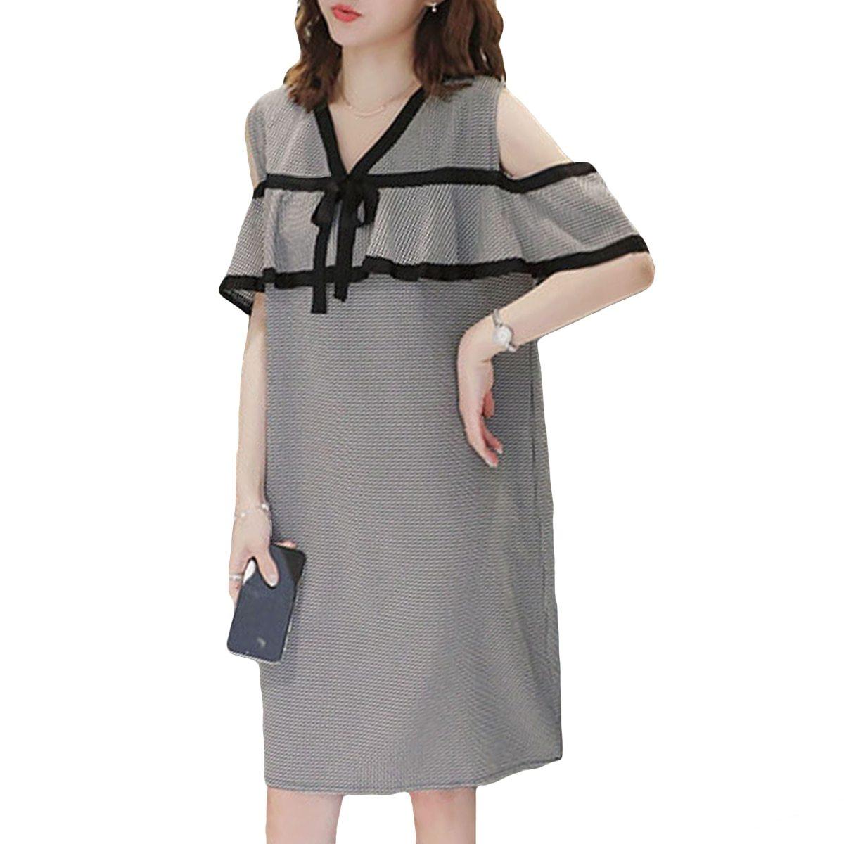 Maternity Dress Off The Shoulder Plaid Ruffles V-Neck Straight Dress