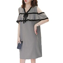 Maternity Dress Off The Shoulder Plaid Ruffles V-Neck Straight Dress - $32.99