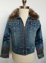 Guess Girls Denim Jean Jacket Fur Collar Floral Size 6 - $34.99