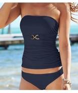 NWT MICHAEL KORS XS tankini swimsuit navy strapless bandeau 2PC flattering - $67.89