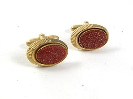 Vintage Gold Stone Goldtone Cufflinks By SPEIDEL USA 31417 - $16.99