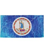 Virginia Vintage Distressed State Flag All Over Beach Towel - $26.95