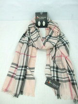 V. Fraas Women's Oblong Scarf Blush Plaid Soft Wrap Shawl Pink Black Tan... - $24.74