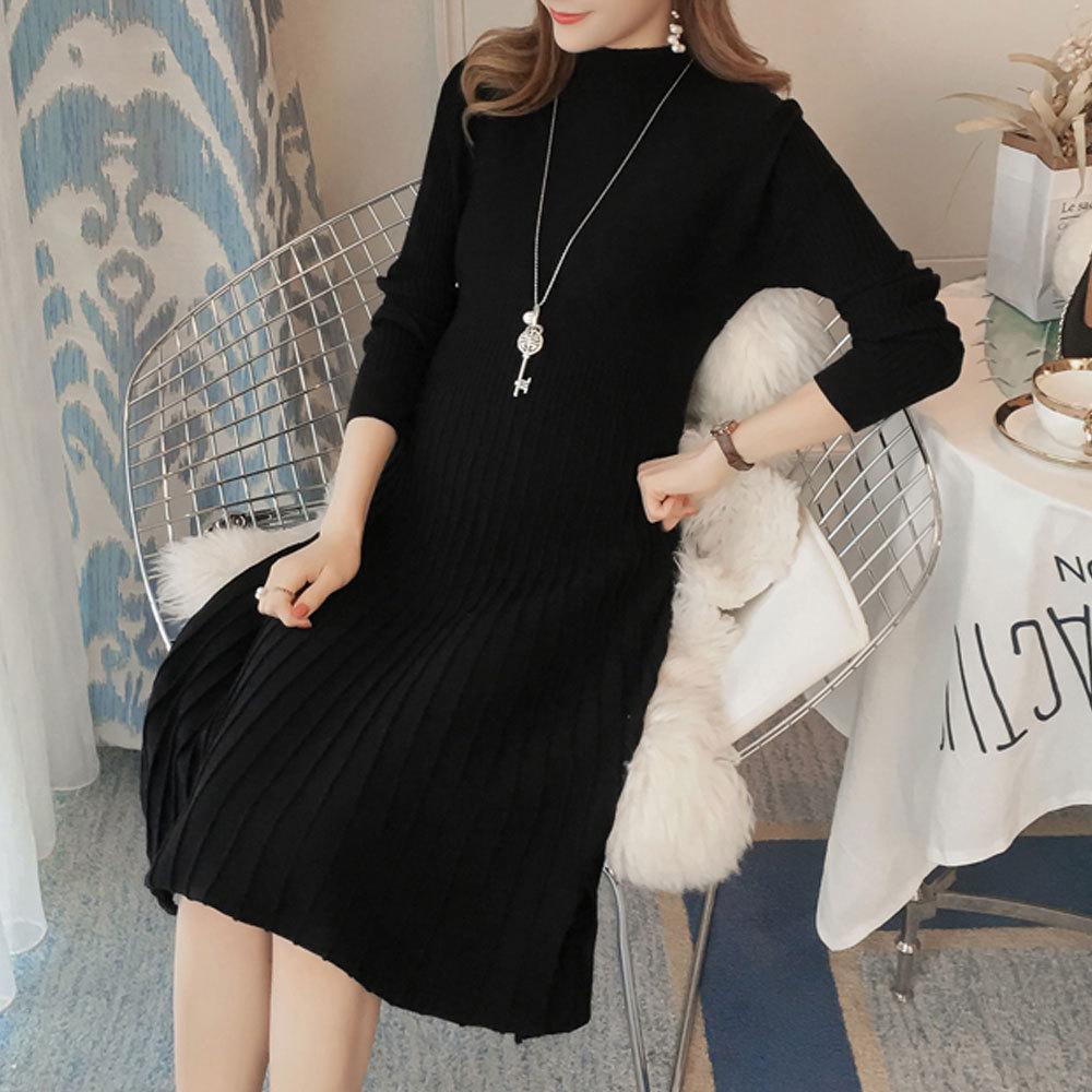 Maternity's Aline Dress Slim Long Sleeve Solid Color Dress image 6
