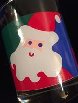 Vintage 70s Graphic Santa Christmas cocktail lowball glassware image 2