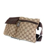 Authentic Gucci GG Pattern Browns Canvas Leather Waist Belt Bag GW1876 - $298.00