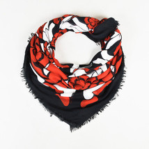"Alexander McQueen NWT $550 Red Multi Silk Blend ""Exploding Flowers"" Scarf - £142.32 GBP"