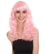 Adult Women Long Curly Glamour Party Event Cosplay Pink Wig HW-641 - $29.85