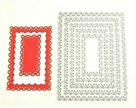 Set of 5 Rectangle Scalloped Dies for Card Making, Scrapbooking, and More!