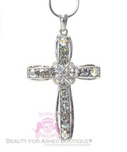 Womens Girls Aurora Borealis Crystal Rainbow Multicolor Cross Chain Neck... - $15.00