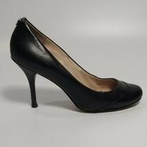 MICHAEL KORS SZ 8 M Black Round Toe Pumps Heels 2 Tone Patent & Glove Le... - $40.58