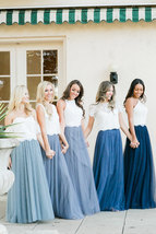 Dusty Blue Bridesmaid Dresses 2 Piece Long Tulle Skirt and Sleeve Crop Lace Top  image 6